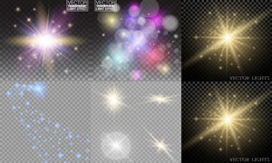 格子背景上的炫丽效果灯光矢量素材