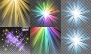 彩虹色璀璨光效元素等创意矢量素材