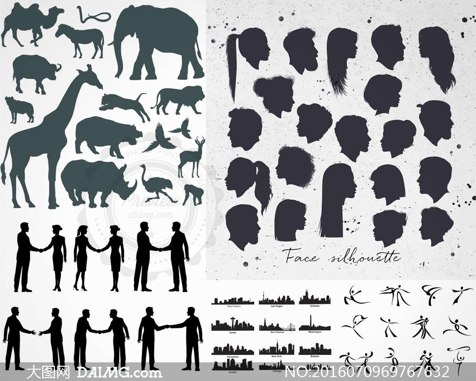 矢量素材矢量图设计素材剪影人物黑白发型侧面头发动物骆驼马匹大象