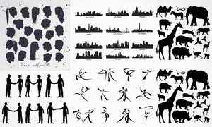 动物人物与建筑物剪影创意矢量素材