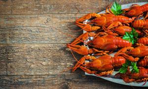 盘中小龙虾美食菜品摄影图片