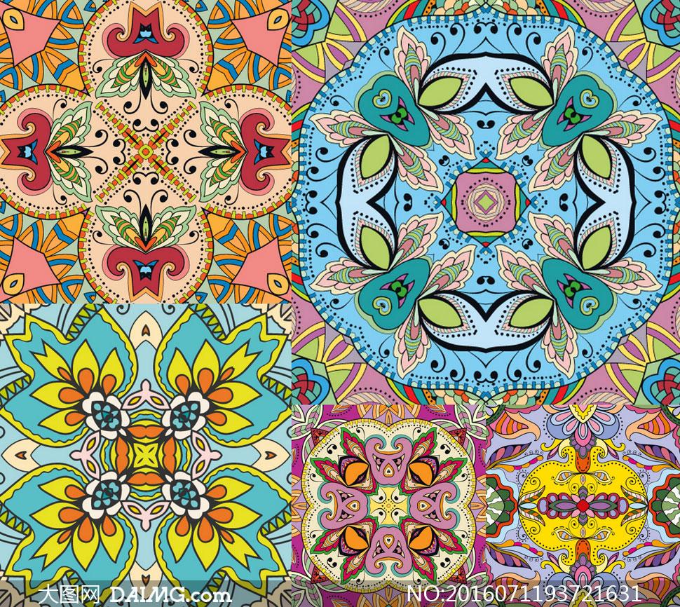 手绘风黑白花朵效果图案矢量素材v1         多款四方连续