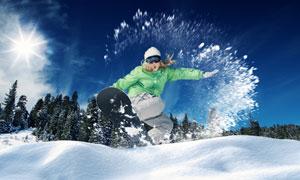 蓝天树林冰雪运动人物摄影高清图片