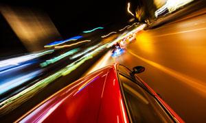 长曝光效果的城市交通摄影高清图片