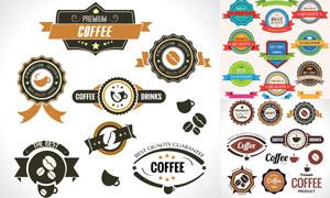 促銷打折與咖啡等主題標簽矢量素材