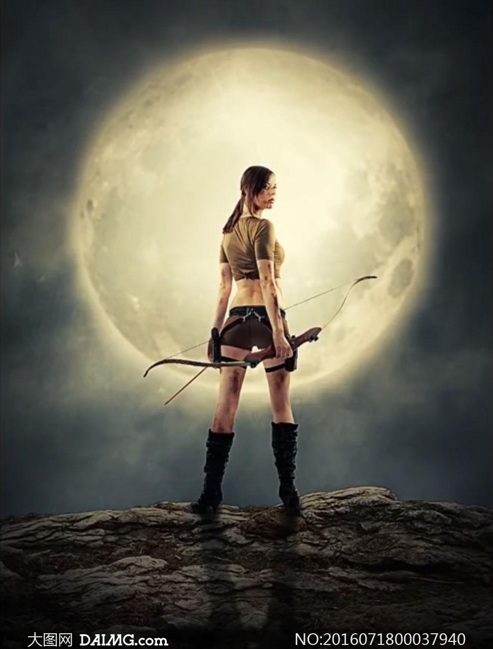 月亮下的女战士场景图PS教程素材