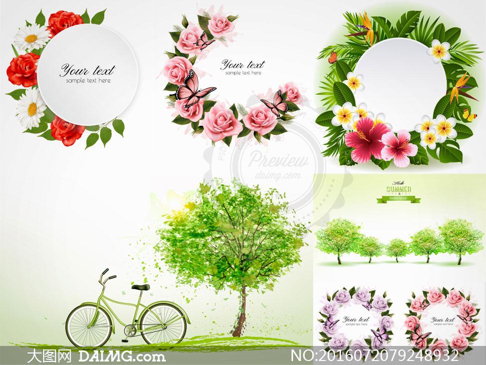 边框玫瑰花红玫瑰菊花鸡蛋花蝴蝶自行车单车插画大树树木春天蝶舞圆形