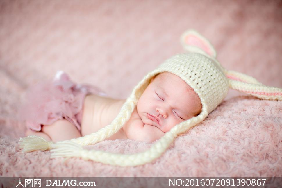 宝宝小宝贝可爱小宝宝睡觉睡着入睡趴着帽子针织帽
