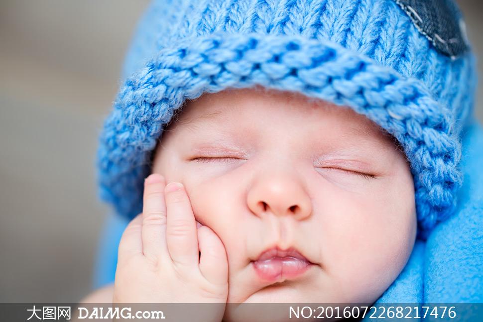 小宝贝可爱小宝宝睡觉睡着入睡帽子针织帽毛线帽蓝色