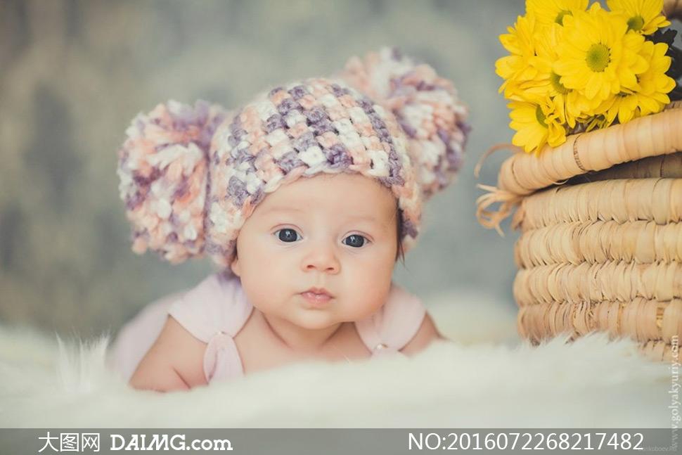 可爱小宝宝大眼睛女宝宝帽子编织帽微距花篮鲜花花朵