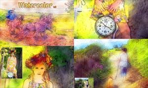 數碼照片轉絢麗水彩畫效果PS動作