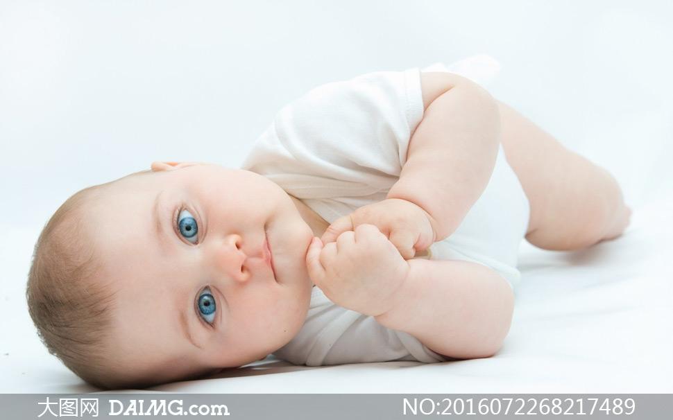 素材近景特写儿童宝宝小宝贝可爱小宝宝大眼睛蓝眼睛
