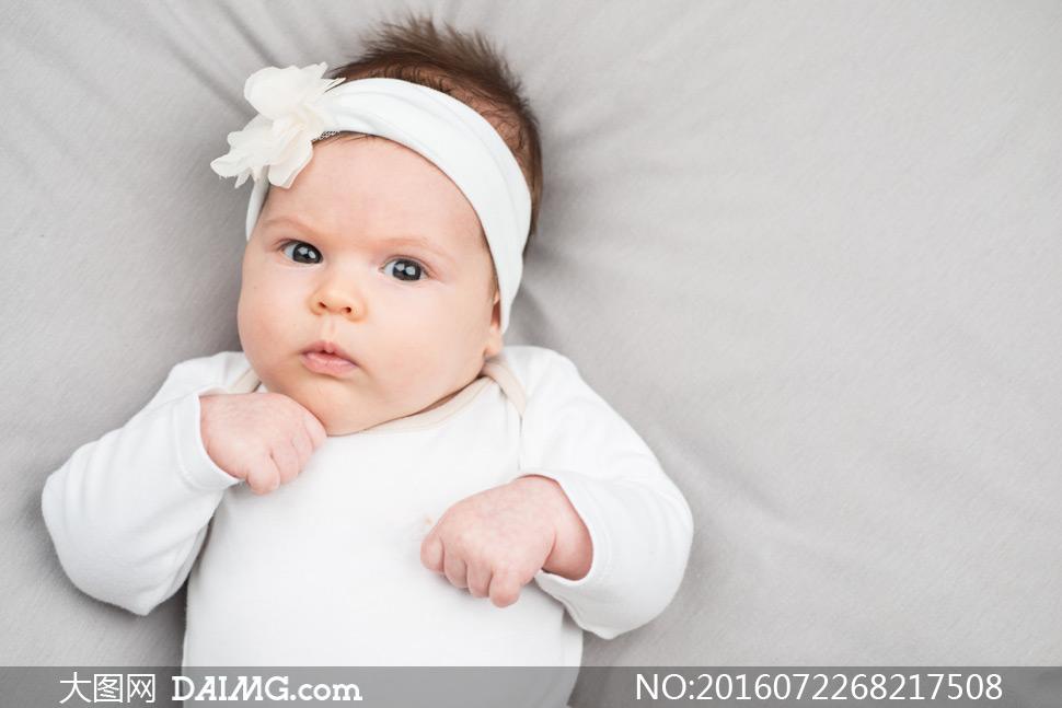 素材近景特写儿童宝宝小宝贝可爱小宝宝婴儿白色发饰