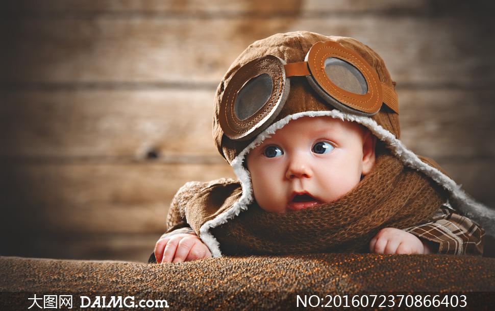 小宝贝可爱小宝宝帽子围巾大眼睛帽子围巾小飞行员