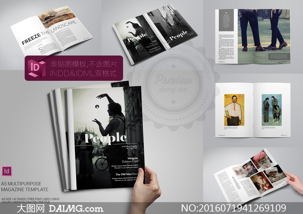 人物风景杂志主题版式设计矢量素材