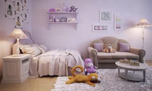 紫色温馨的儿童房内景摄影高清图片