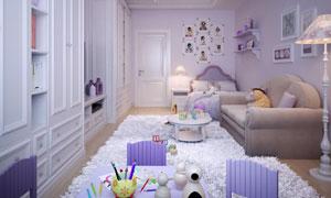 精心布置的温馨儿童房内景摄影图片