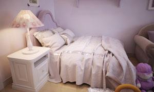 儿童房墙角的一张床等摄影高清图片