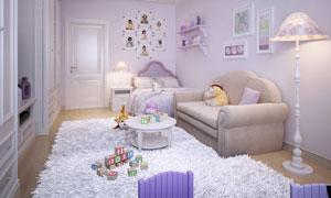 房间里的地毯茶几与沙发等高清图片