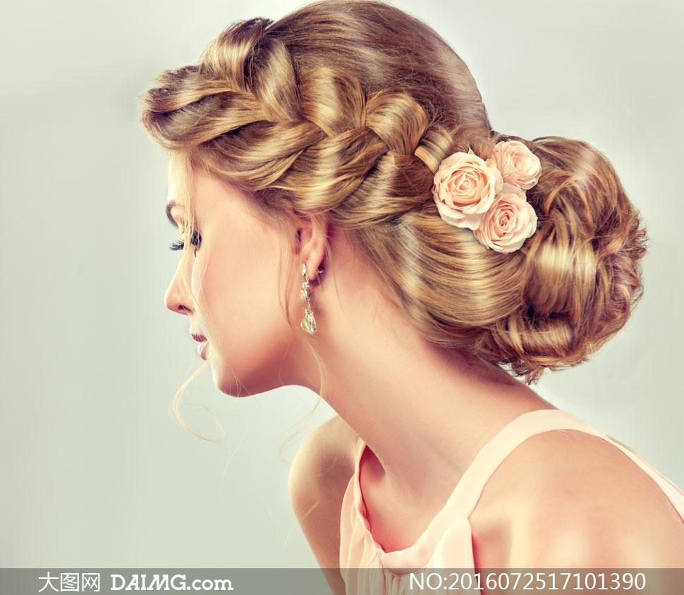 玫瑰花装饰的发髻美女摄影高清图片