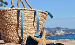 海星遮阳帽与手工编织袋等高清图片