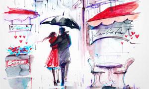 街道上的咖啡馆与情侣绘画高清图片