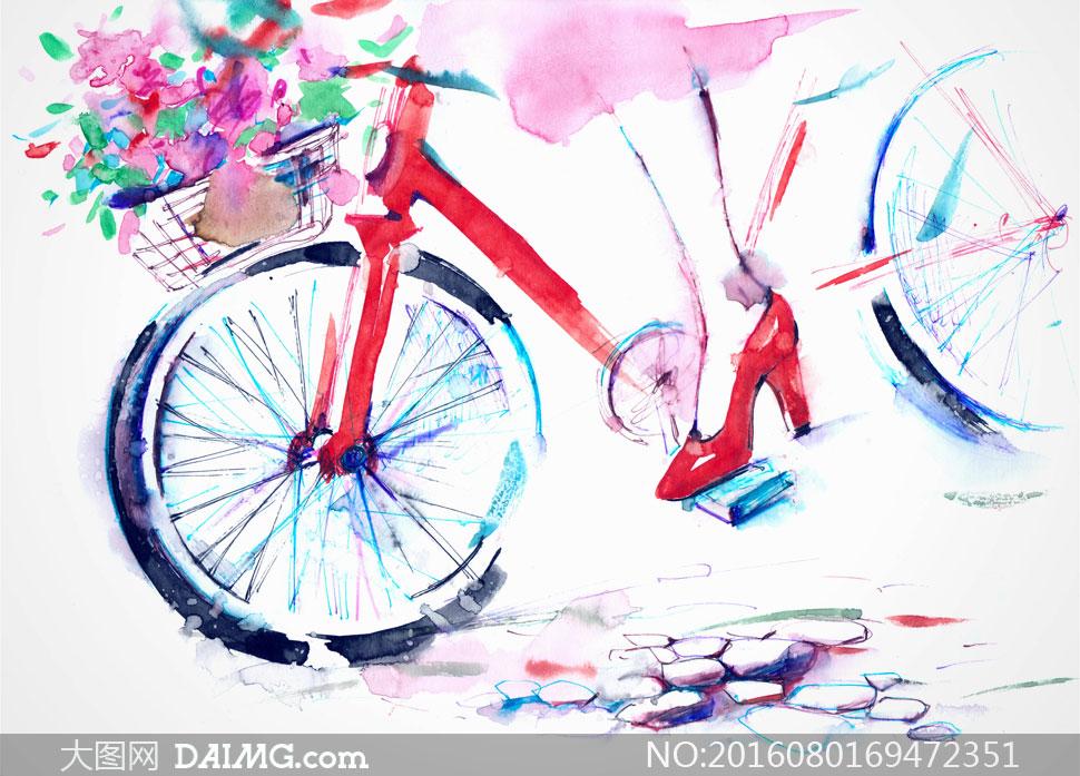 水彩画艺术人物特写高跟鞋红色花篮车篮车轮岩石石子石头自行车单车多