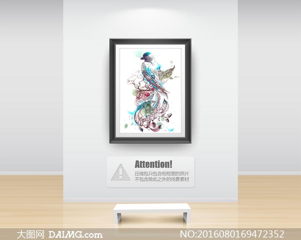 美术绘画水彩画艺术飞鸟喜鹊树叶叶子树枝果实果子插画墨迹墨痕水墨