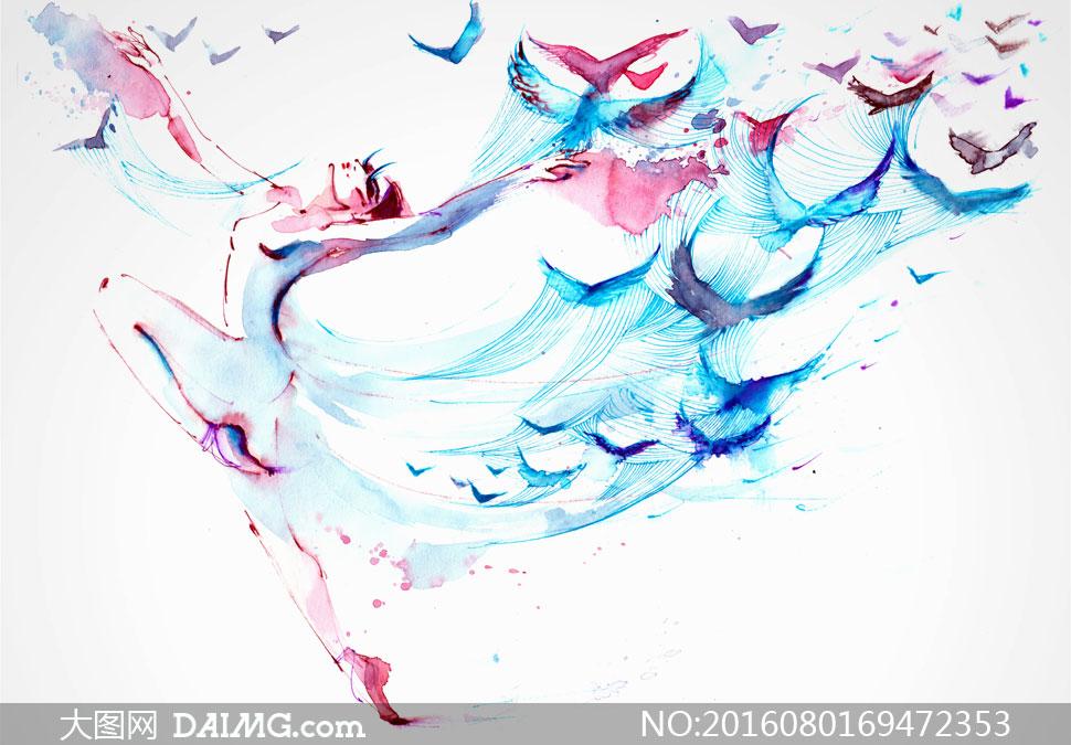 芭蕾舞者与飞鸟水彩画创意高清图片