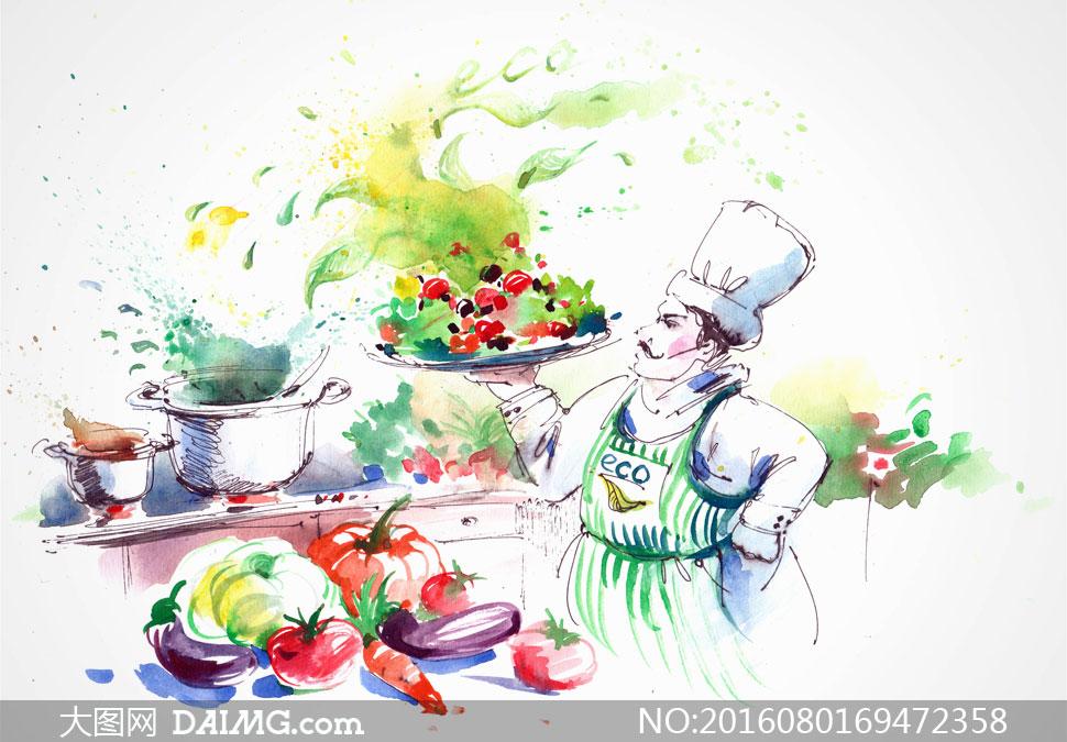 厨房里烹制美食的大厨绘画高清图片