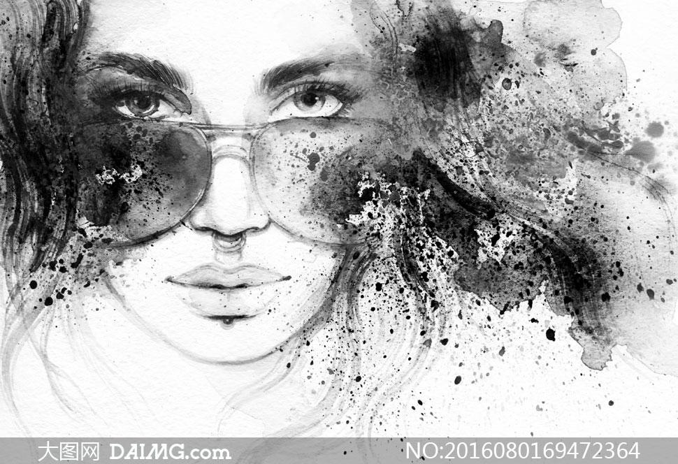 黑白水墨效果美女人物绘画高清图片