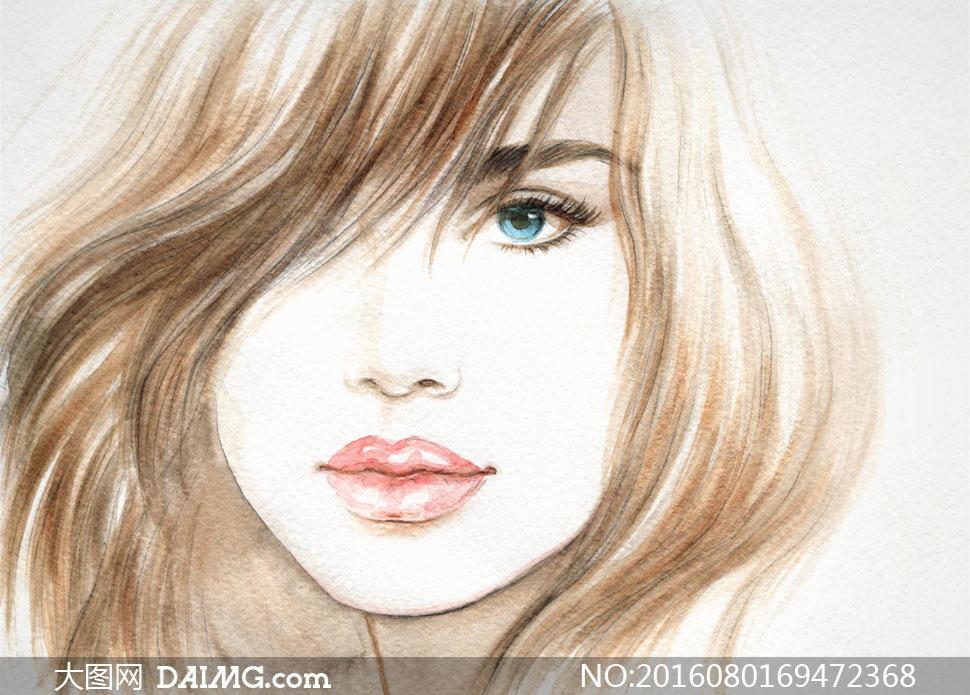 女女人女性人物手绘遮眼遮住一只眼短发秀发蓝眼睛
