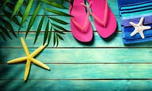 木板上的海星与拖鞋等摄影高清图片