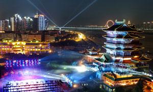 夜晚炫丽灯光城市风光摄影高清图片