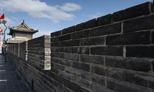 蓝天白云城墙城楼风光摄影高清图片