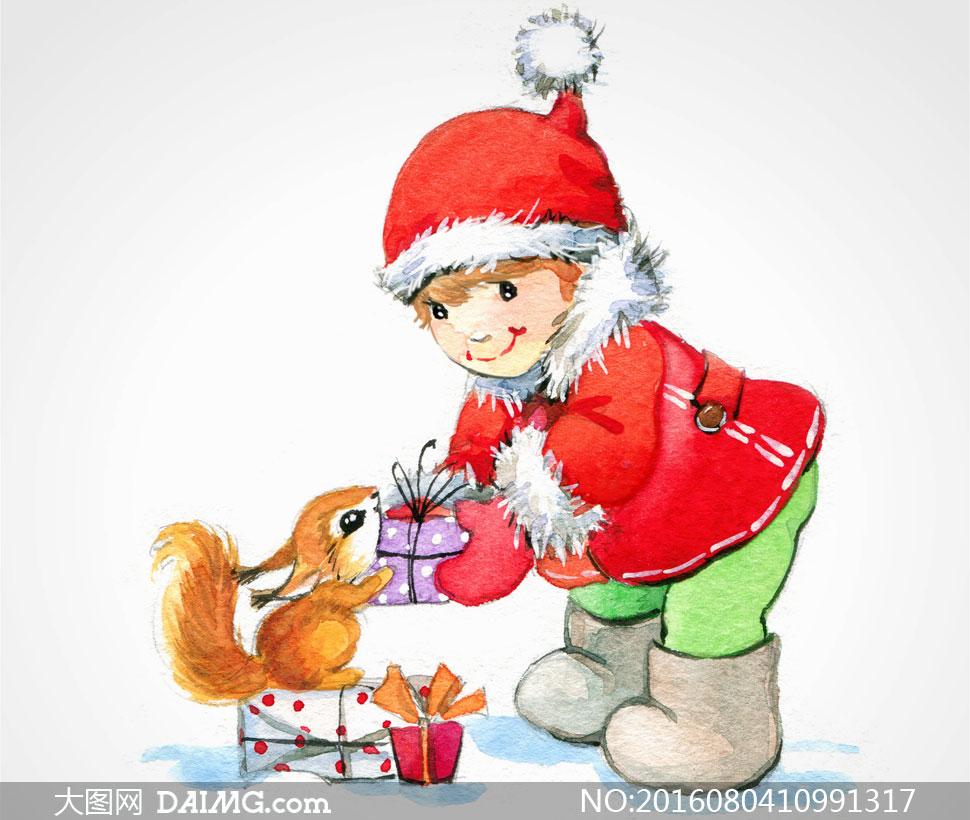 送小松鼠礼物的小女孩绘画高清图片