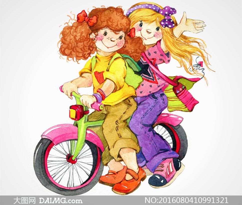 绘画美术人物小女孩儿童水彩画学生书包骑车单车自行