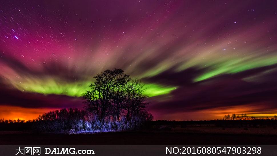 空中炫丽多彩极光风景摄影高清图片