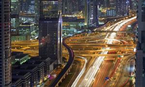 迪拜建筑物与繁忙交通摄影高清图片