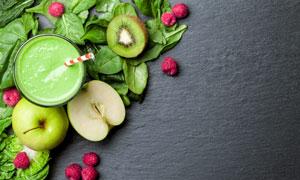 猕猴桃与果汁苹果特写摄影高清图片