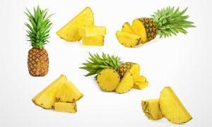 切开不同形状菠萝特写摄影高清图片