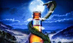 夏季啤酒宣传海报设计PS教程源文件
