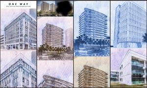 建筑照片转斜线素描效果PS动作