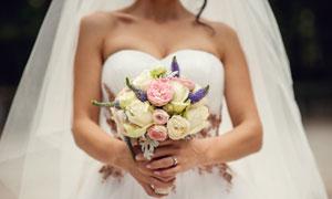 在新娘手里的捧花特写摄影高清图片