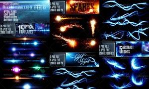 梦幻星光和灯光光线装饰图片素材