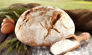 面包面粉与鸡蛋麦穗等摄影高清图片