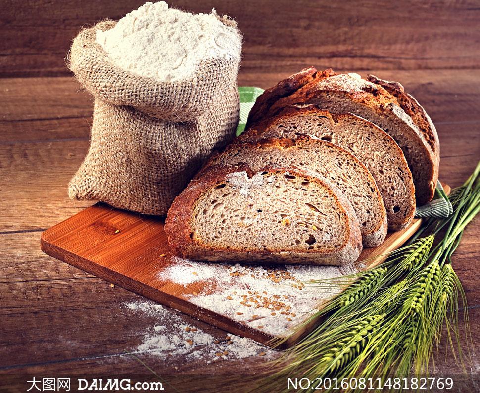 麻袋面粉与面包片特写摄影高清图片 - 大图网设计素材图片