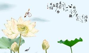 中国风古典荷花荷叶广告设计PSD素材