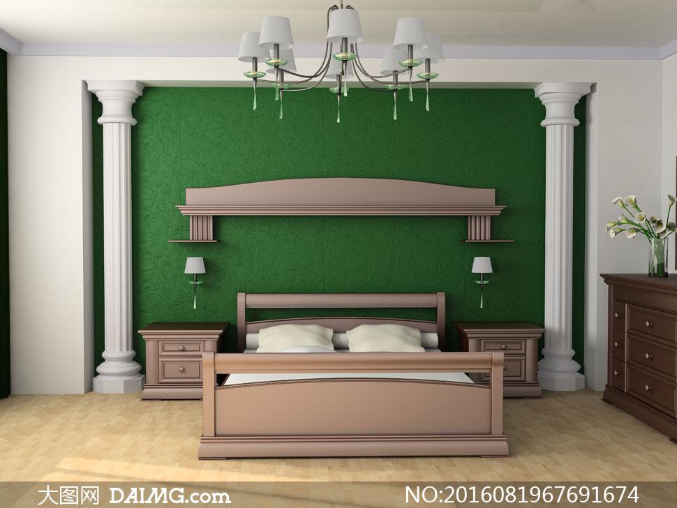 欧式卧室房间内景渲染效果高清图片 - 大图网设计素材