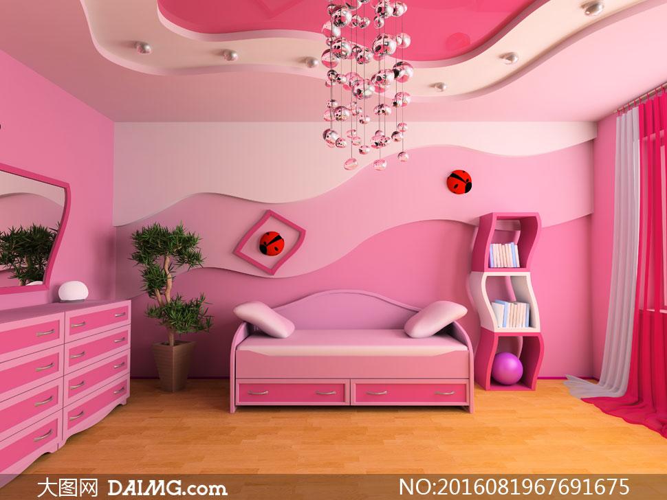 粉红色公主房卧室房间摄影高清图片